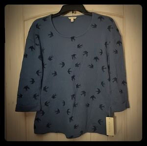 B1G1: Sonoma Pullover Quilted Whimsical Birds Top